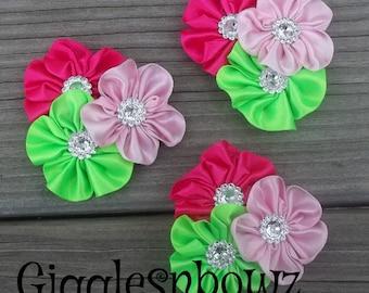 PeTiTE SiZE Set of 3 Embellished Satin CLuSTeR Flowers- SuMMER BRiGHTS-2.5 inch Size