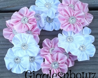 PeTiTE SiZE Set of 6 Embellished Satin CLuSTeR Flowers- PiNK and WHITE-2.5 inch Size