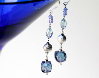 Long Blue Mystic Quartz Earrings with Dangling Silver Aquamarine and Zircon Gemstones on Sterling Silver Ear Wire