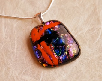 Handmade Dichroic Fused Glass Silver Necklace