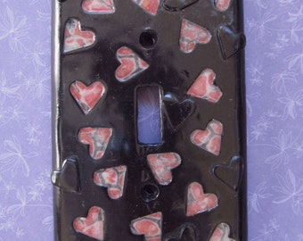Polymer Clay Light Switch Cover - Black Heart