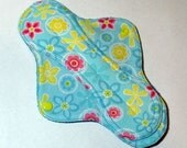 Mama Cloth Reusable Menstrual Sanitary Pad blue tropical print with pink and yellow - size S/M