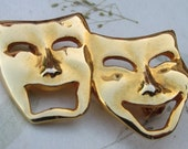 Smaller Comedy Tragedy Masks Brooch Pin Theater Thespian Award