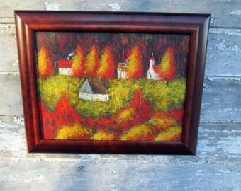 Vintage Oil Painting Mountain Village in The fall and Autumn Very Bright Colors