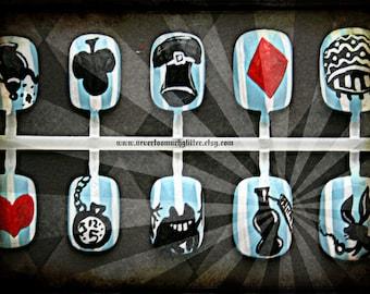 Fake Nails- Alice In Wonderland Silhouette Press On Nails, Handpainted, Press On Nails, Alice, Wonderland, Handpainted, Cosplay, Kawaii