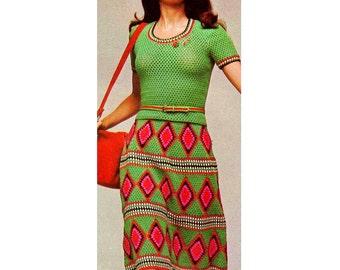 INSTANT DOWNLOAD PDF Vintage Crochet Pattern  Diamond Stripe Granny Square Skirt and Top