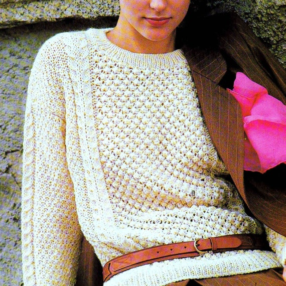 Knitting Pattern Aran Jumper : INSTANT DOWNLOAD PDF Vintage Knitting Pattern Aran Sweater