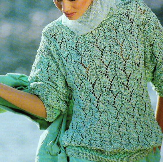 INSTANT DOWNLOAD PDF Vintage Knitting Pattern Lace Sweater