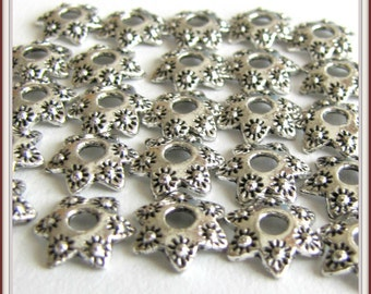 Carved Flower Bead Cap, 10mm Bead Cap, Silver Bead Cap, Earring Findings, Jewelry findings, 1 lot of 50 pieces Item #914