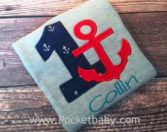 Personalized Nautical Birthday Shirt on a GRAY TEE - You Choose your Fabrics - by Pocketbaby