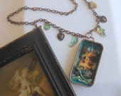 Cupid and Dragonflies Altered Art Necklace, Valentines Day, Assemblage Jewelry
