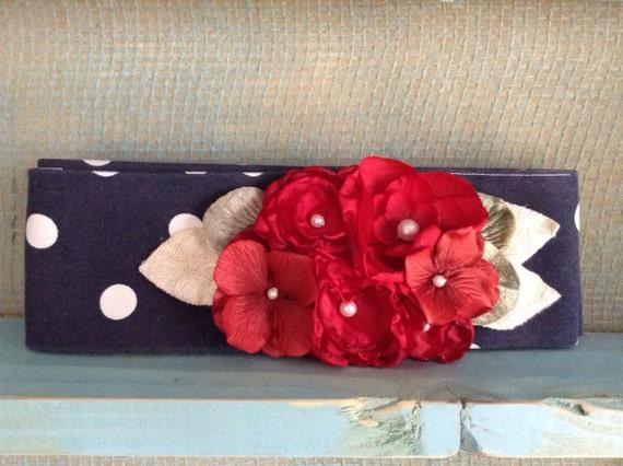 Bouquet Sash- Polka Dot Red, White, Navy, Pearls -Brooch- Head wrap- belt