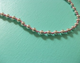 Preppy Silver Beads Knot Necklace - 5mm Silver Plate Beads w/Pink Knots Necklace