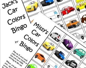 Instant download. Print Travel Game. Car Bingo. Find the Color of the Cars. Even Great for Preschoolers.