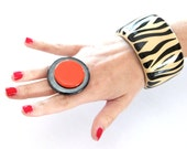 Ceramic Boho Statement Ring  - big bold oversized handmade cocktail ring - SPOT ON - 1.8 inch