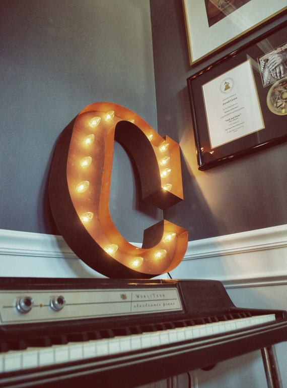 "Letter Light C - RUSTY - 24"" Vintage Marquee Lights-The Original!"