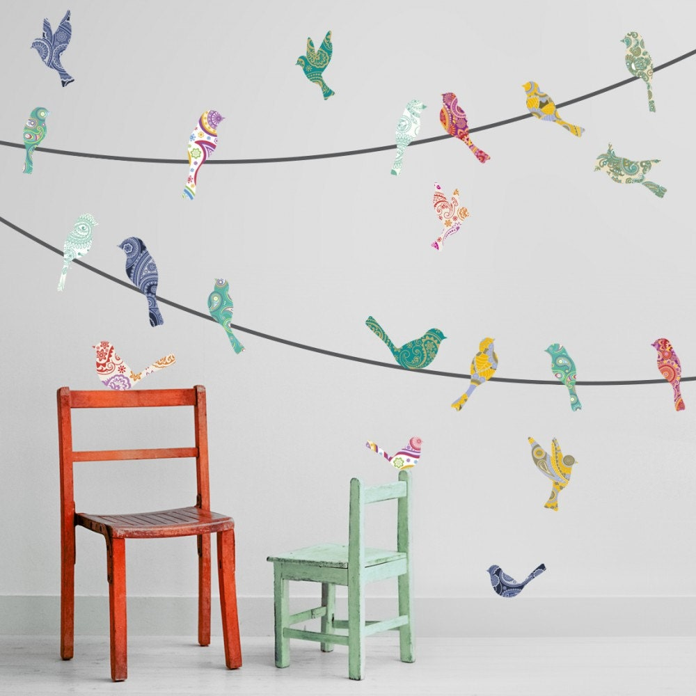paisley birds on a wire wall decals zoom
