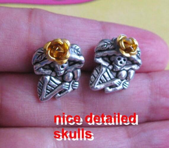 Mexican Skull CATRINAS earrings stud Day of the Dead Dia de los muertos mexico Folk Art mexicana aretes Unique altered art skeleton
