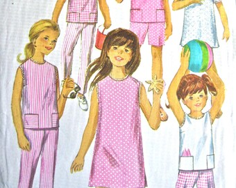 Vintage 60s Simplicity 6952 Girls' Pants in Two Lengths and One-Piece Dress or Top Pattern