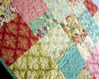 baby girl quilt in bright hello luscious florals // modern baby quilt in green blue and grey // READY TO SHIP