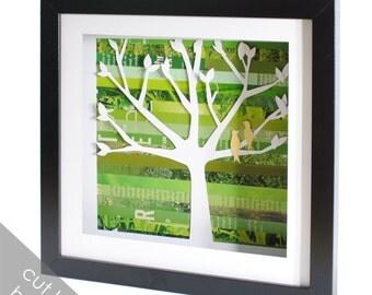 Small Customizable Family Tree Shadowbox- made from recycled magazines, tree, nature, family, birds