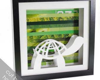 turtle- shadowbox made from recycled magazines, boy nursery, green, reptile, nature, animal