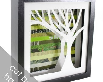 Four seasons tree - on the right- shadowbox made from recycled magazines, handcut, winter, spring, summer, fall