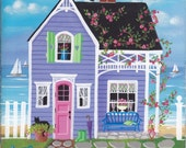 Spring Blooms Cottage Folk Art Print