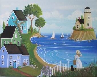 Seashell Collector Folk Art Print