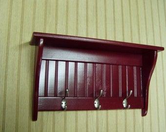 """Coat Rack Display Shelf Wood Wall Shelf Country Coat Rack 24"""" Wide Satin Chrome Hooks Red"""