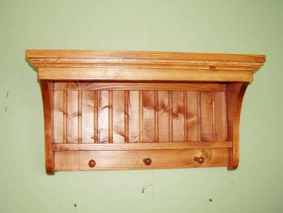 Wood Display Shelf Coat Rack Pine Knick Knack Wall Hanging