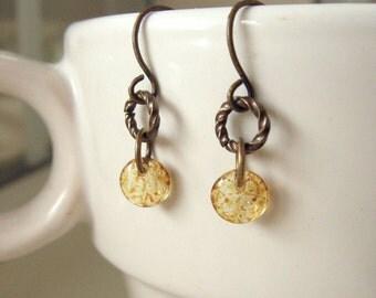 Itty Bitty Dangle Earrings Honey Yellow Glass  - Honey Drop