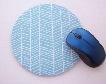 Mouse Pad mousepad / Mat - Round or rectangle -  herringbone chevron white on aqua blue