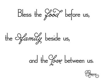 Bless the Food Inspirational Vinyl Wall Decal (I-034)