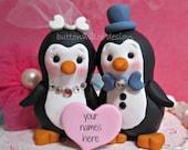 Happy Penguin Love Wedding Cake Topper Fun Decor or Wedding Gift and Memento