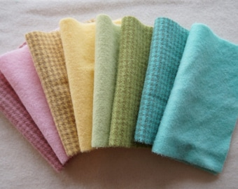 Pink - Green - Yellow - Turquoise - Pastel Hand Dyed Wool - Rug Hooking, Applique, Penny Rugs, Fiber and Textile Art Supplies