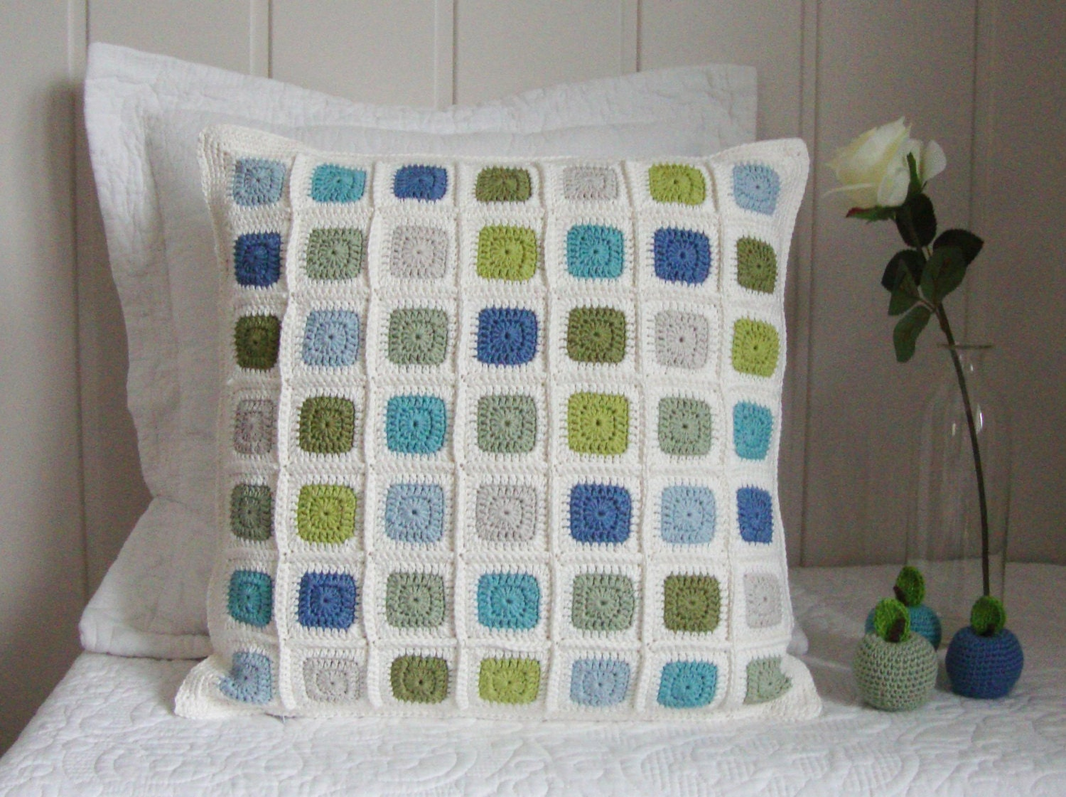 Modern Patchwork Pillow : Crochet pillow cover modern geometric patchwork mosaic in