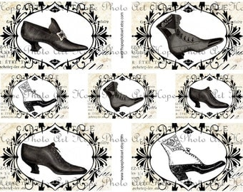 Victorian Shoes 3x5 and 2x3 Digital Collage Sheet tags French post card shabby chic victorian ATC ACEO greeting UPrint 300jpg