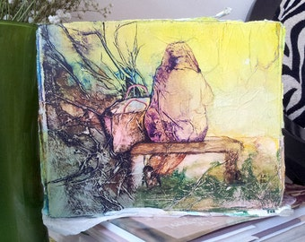 PARK BENCH Original Painting Zen Inspired Watercolor On Tissue Lynne French FREE Shipping