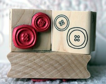One Button two button rubber stamp from oldislandstamps