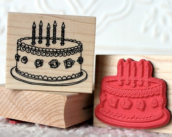 Rosette Birthday Cake rubber stamp from oldislandstamps