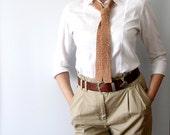 Hazel Brown Tie Crochet Tie Skinny Scarflette