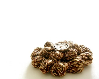 Flower Crochet Brooch Earth Thones Brooch Coconut Button