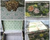 Antique celluloid box, floral jewelry box, silk lined box, Victorian jewelry box, celluloid floral box, victorian box, romantic box