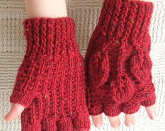 Red Aran wool Fingerless Gloves