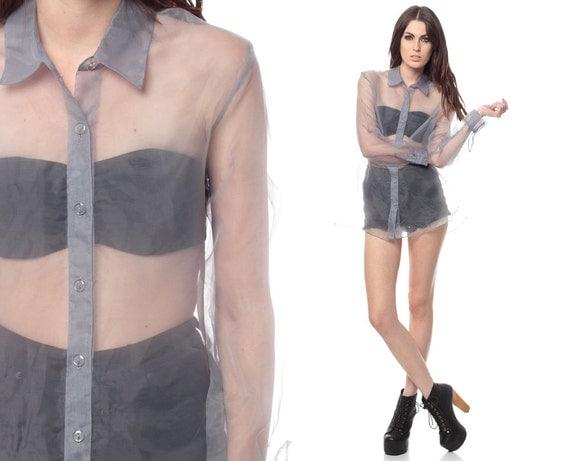 1990s organza dress button up vintage shirtdress extra small medium xs