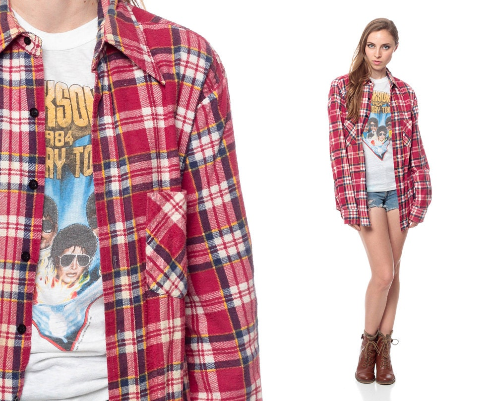 90s Flannel Shirt Red Plaid Oversized Lumberjack Long Sleeve