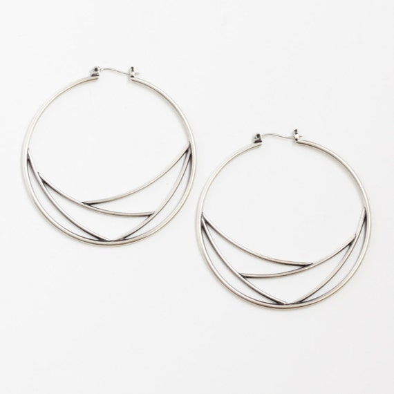 "Geometric hoop earrings, modern and trendy silver hoops featuring a delicate web pattern to complement the classic design - ""Web Hoops"""