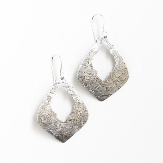 """Striking silver earrings which combine ornate elements of an ancient design with a modern geometric shape - """"Marrakesh Earrings"""""""
