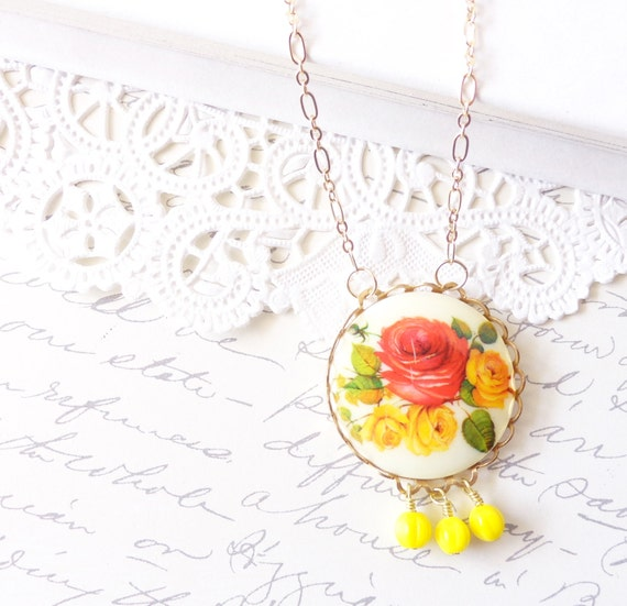 Vintage Floral Cameo Necklace - Whimsy - Whimsical - Romance - Bridal - Rose